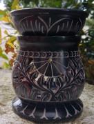 Speckstein Aromalampe, schwarz, Pflanzenranke/Elefant, 2-tlg.