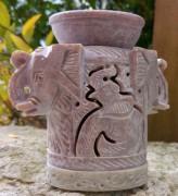 Speckstein Aromalampe, Elefantenkopf, 3 tlg.