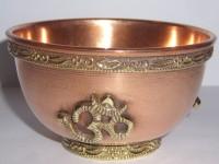 Räucherschale Kupfer mit OM, 8x6 cm